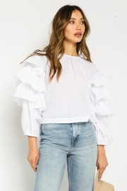 Olivaceous Tiered Sleeve Top - Front full body