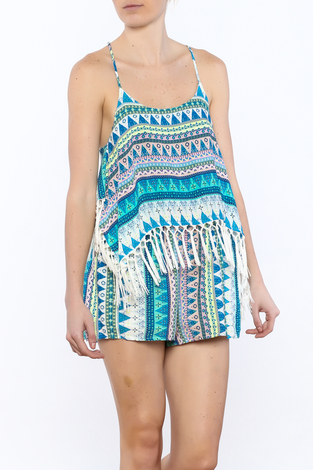 e34bcfbb2 Olivaceous Tribal Print Romper from Montclair by That Little Black ...