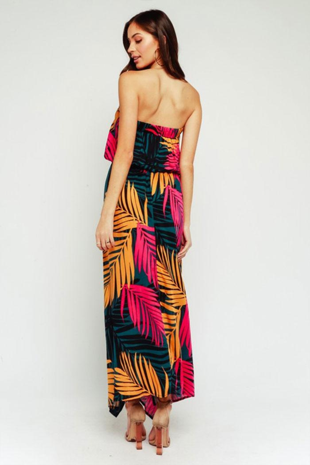 Olivaceous Tropical Maxi Dress - Front Full Image