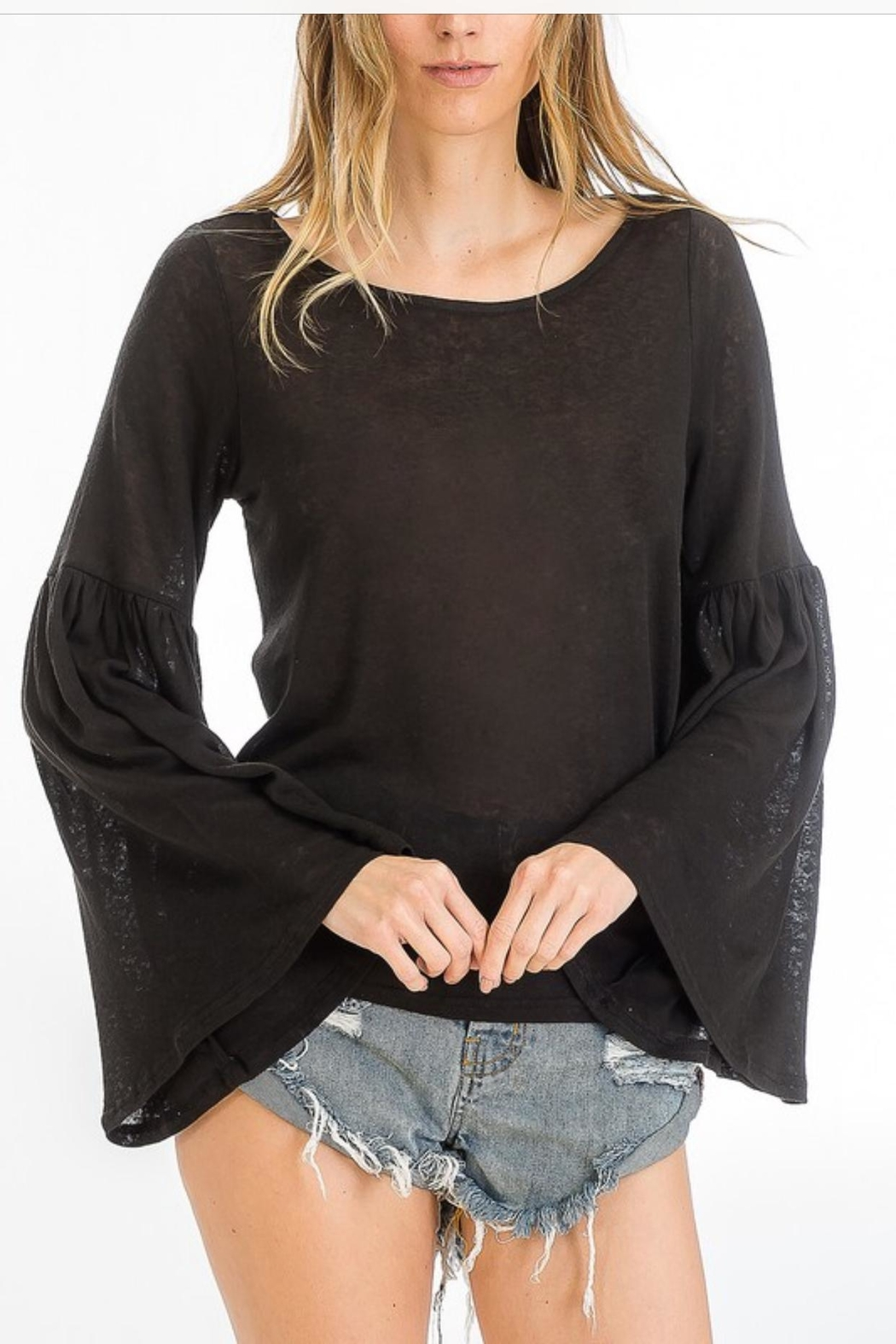 Olivaceous Trumpet Sleeve Top - Main Image
