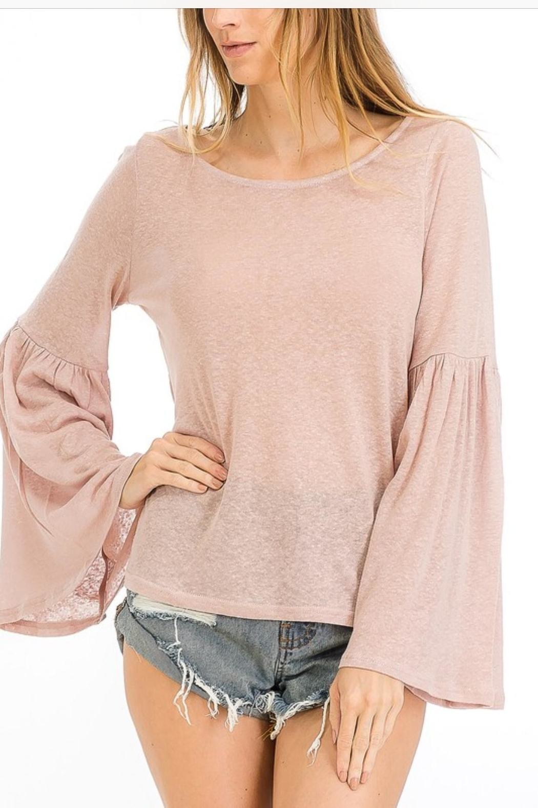 Olivaceous Trumpet Sleeve Top - Front Cropped Image