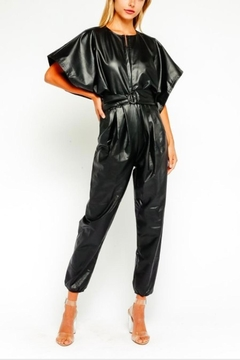 Olivaceous Vegan Leather Jumpsuit - Product List Image