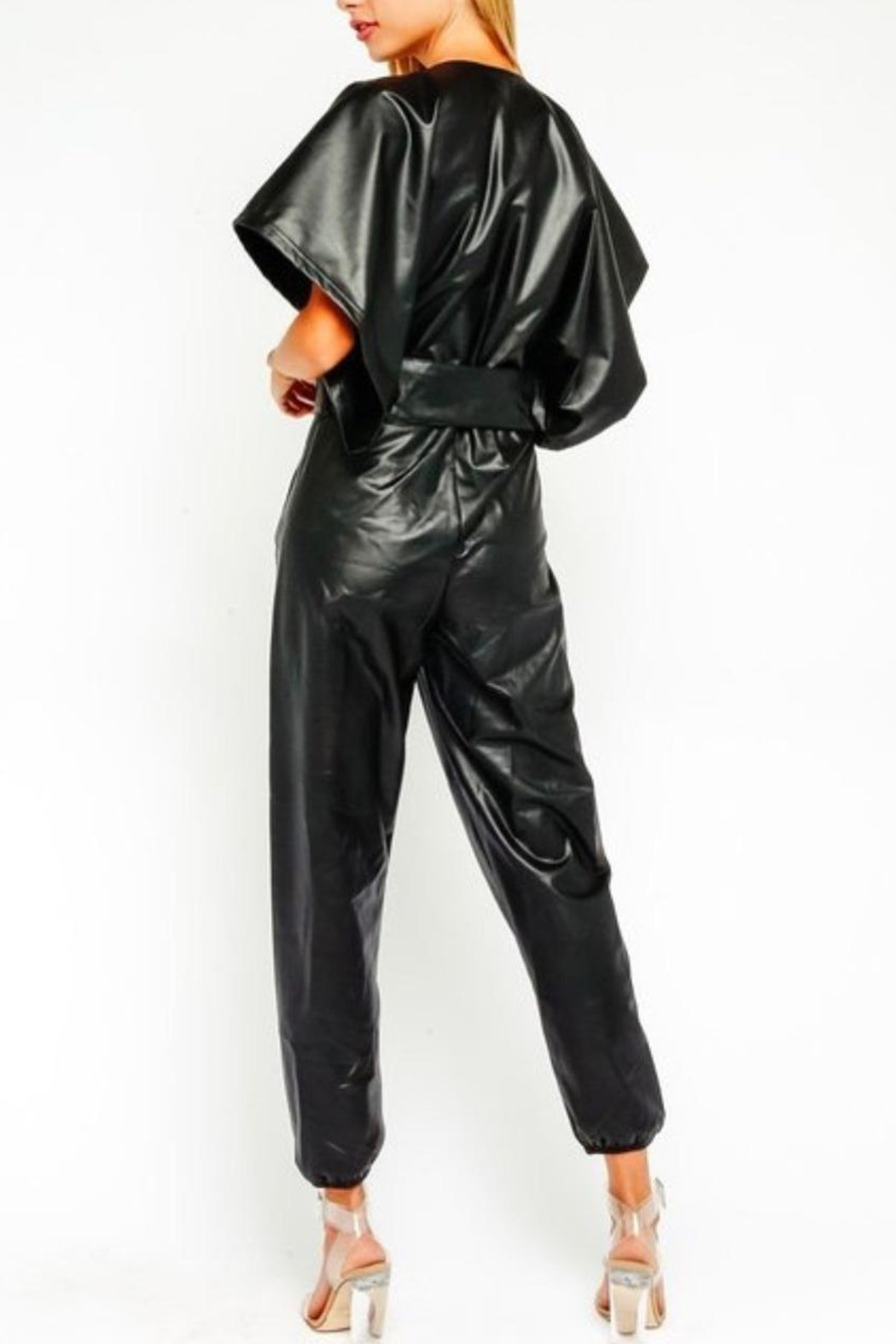 Olivaceous Vegan Leather Jumpsuit - Side Cropped Image