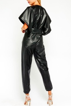 Olivaceous Vegan Leather Jumpsuit - Alternate List Image