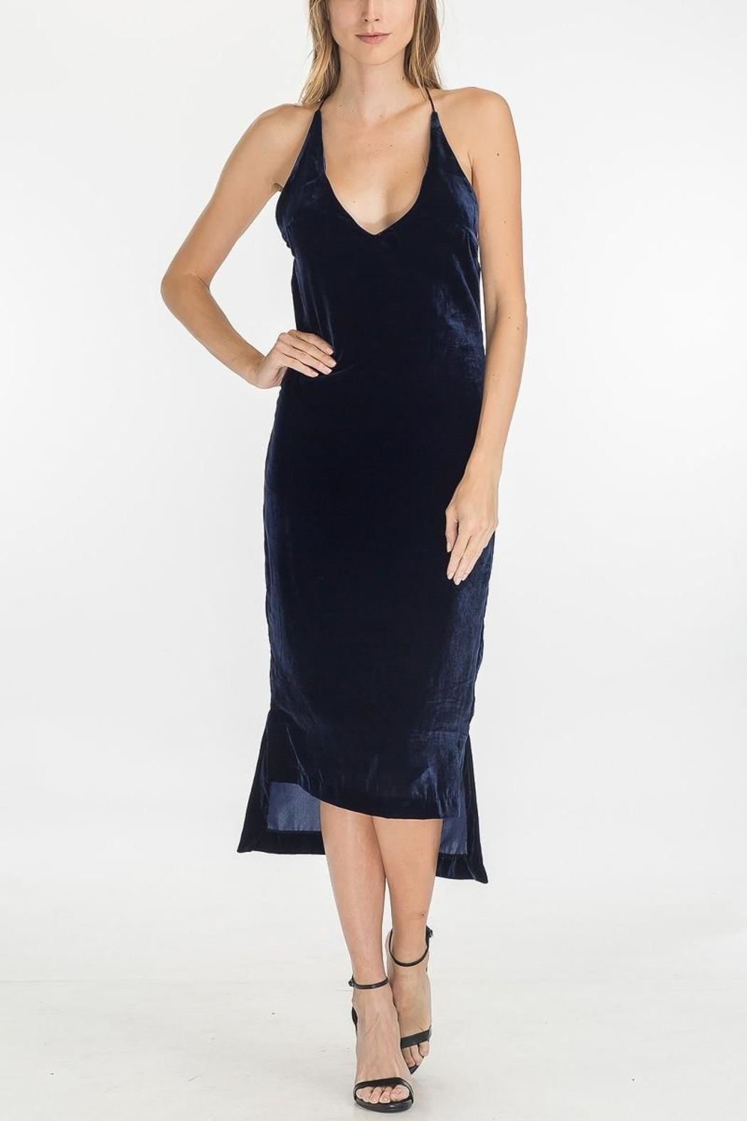 Olivaceous Velvet Slip Dress - Main Image