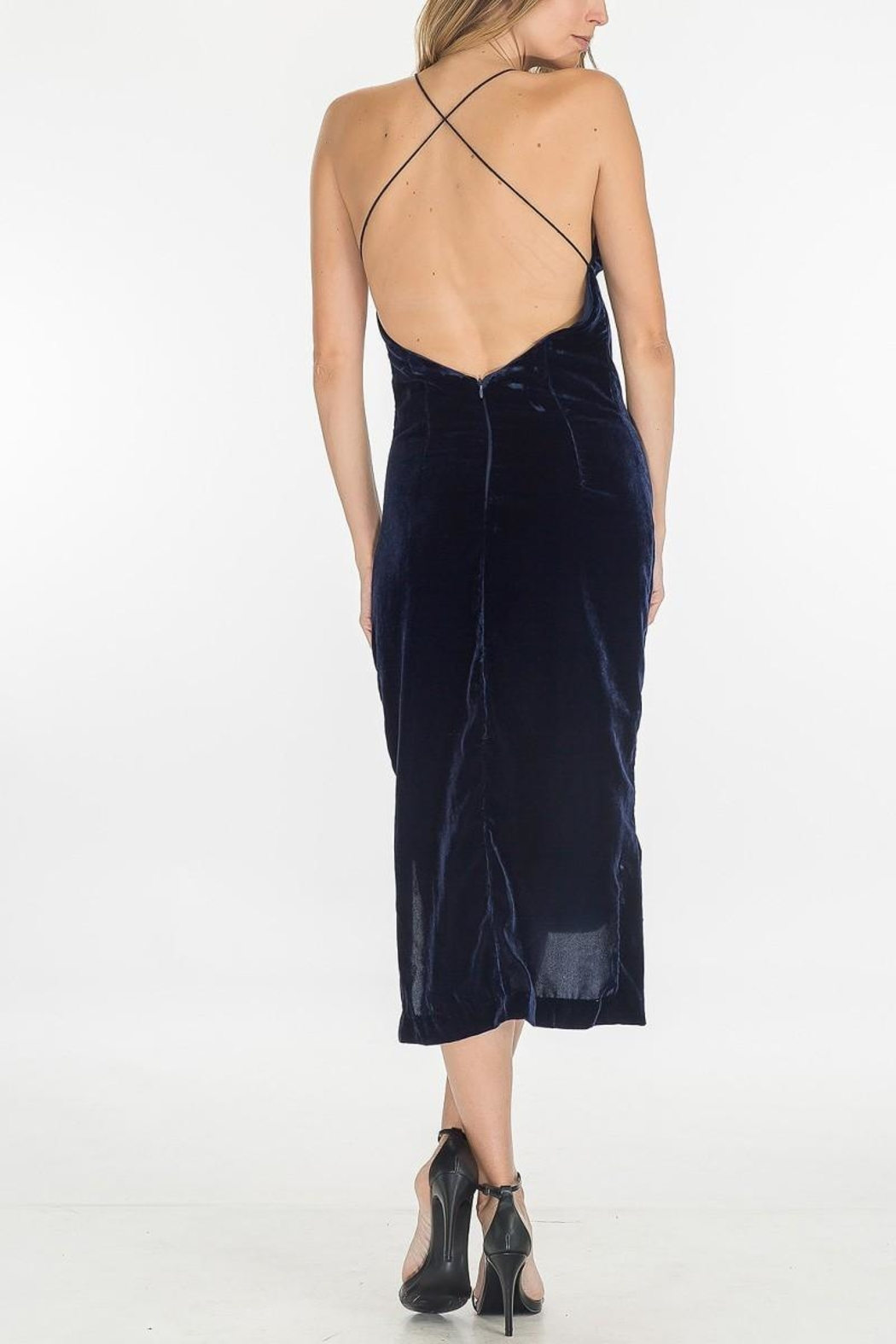 Olivaceous Velvet Slip Dress - Side Cropped Image