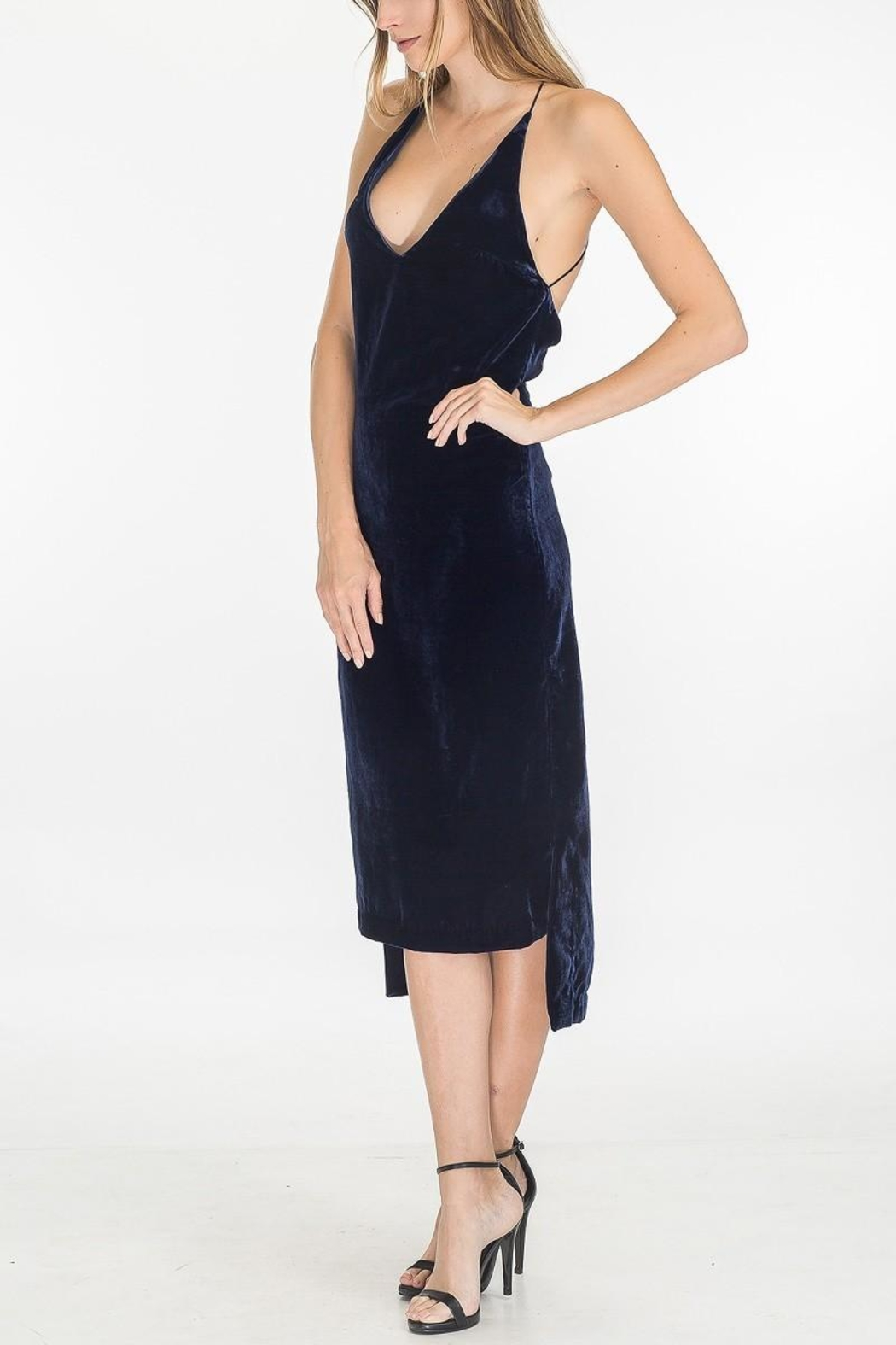 Olivaceous Velvet Slip Dress - Front Full Image