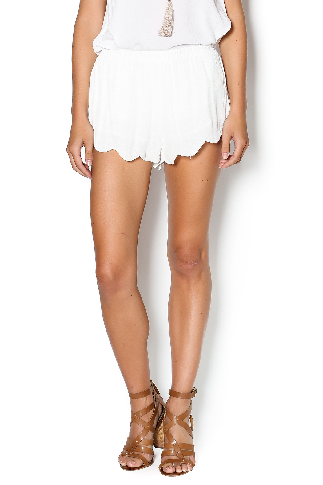 White Flowy Shorts — Shoptiques