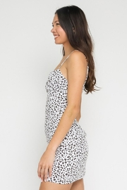 Olivaceous White Leopard Mini Dress - Front full body