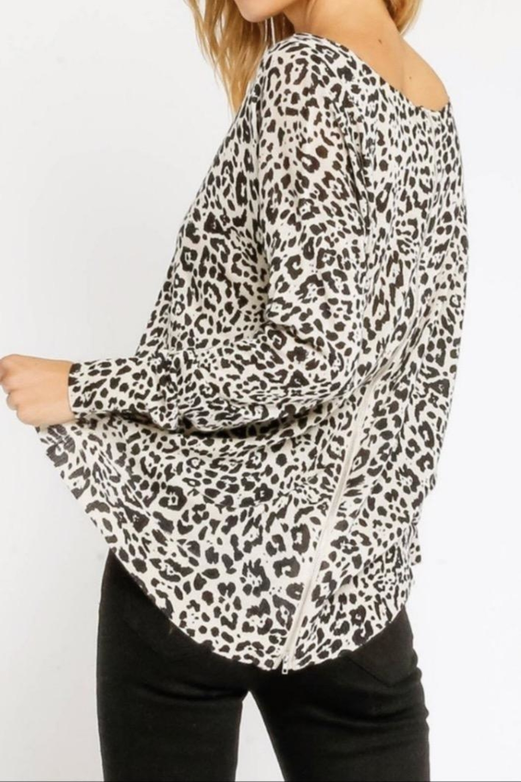 Olivaceous White Leopard Sweater - Front Full Image
