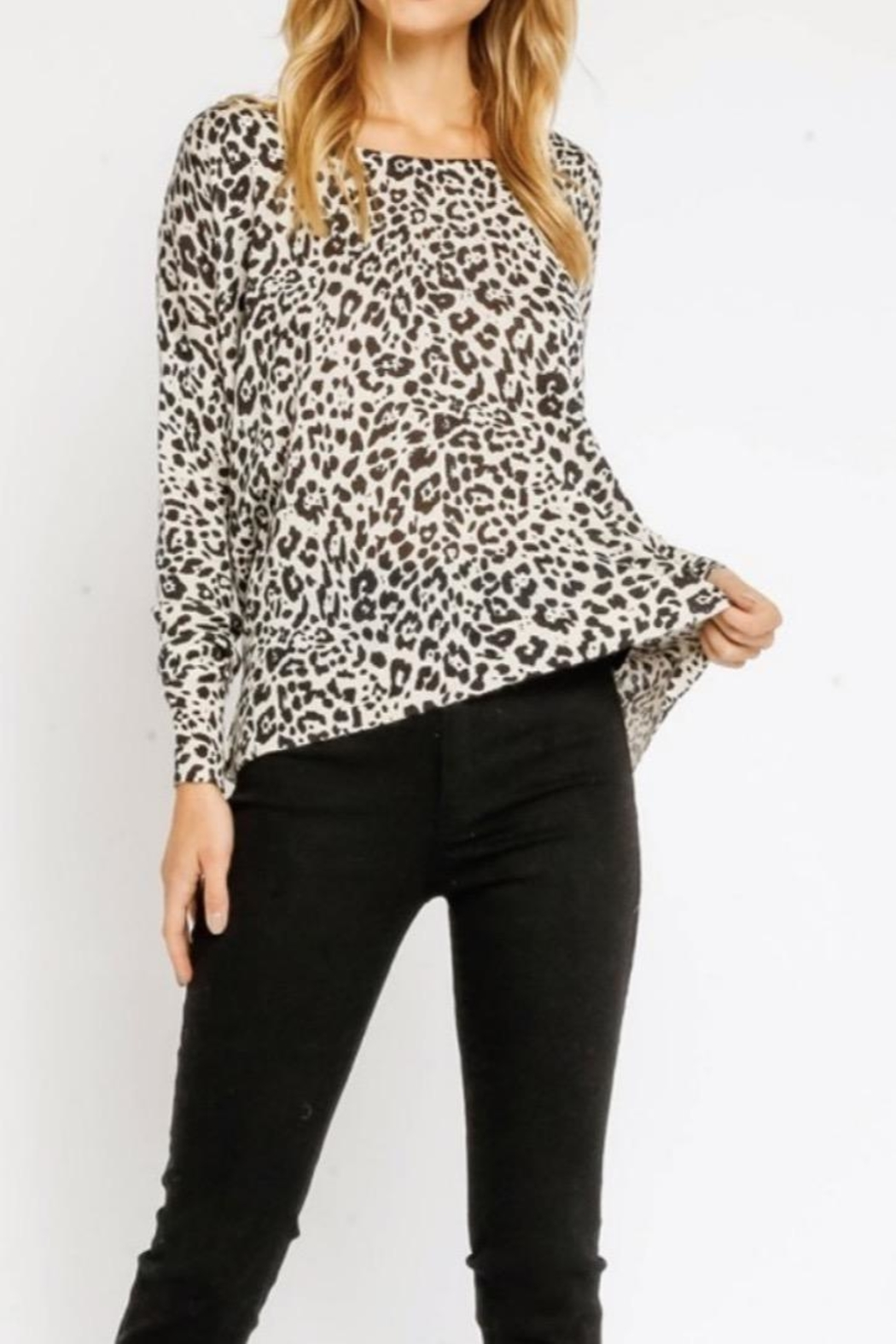 Olivaceous White Leopard Sweater - Main Image