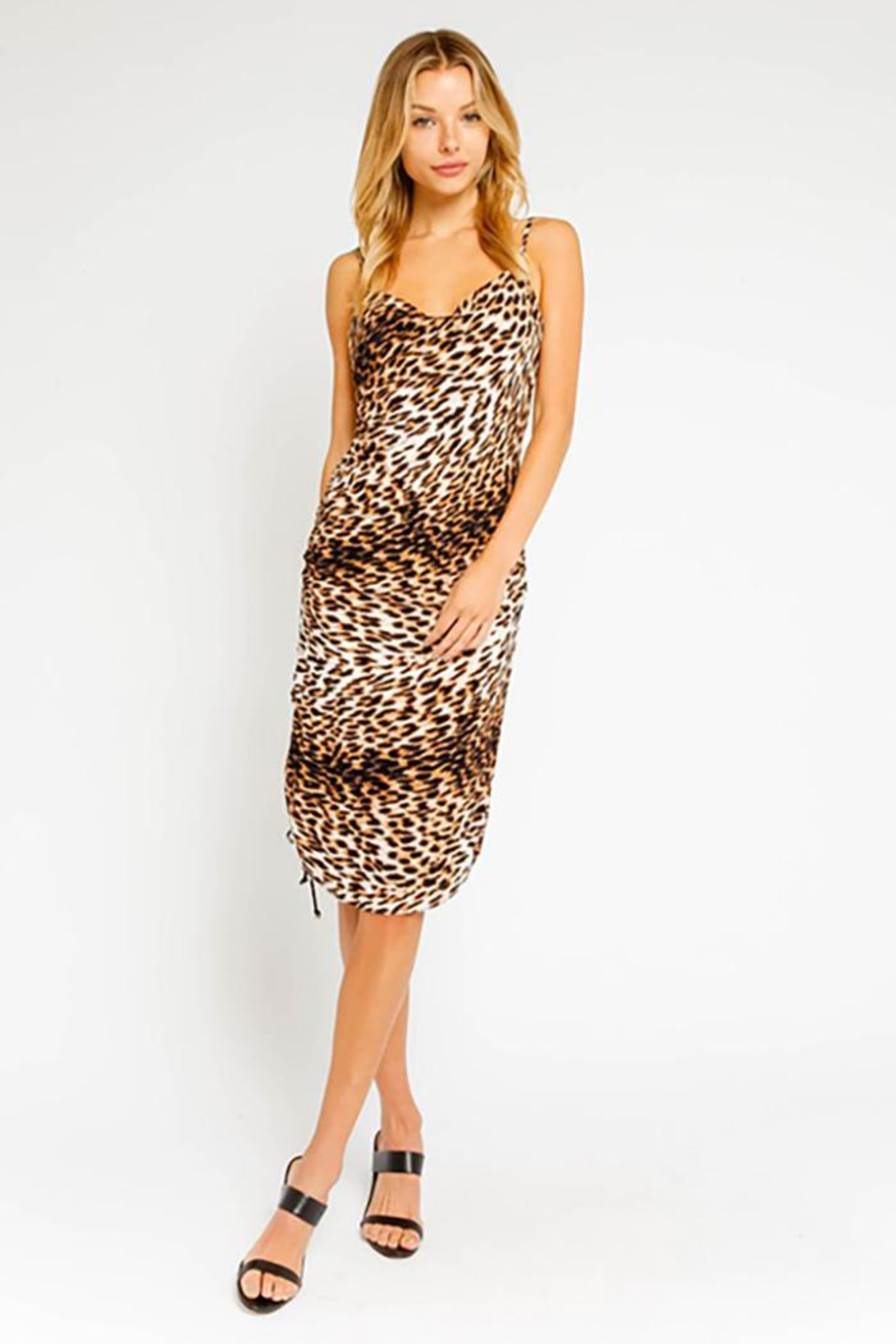 Olivaceous Wild Leopard Ruched Midi Dress - Main Image