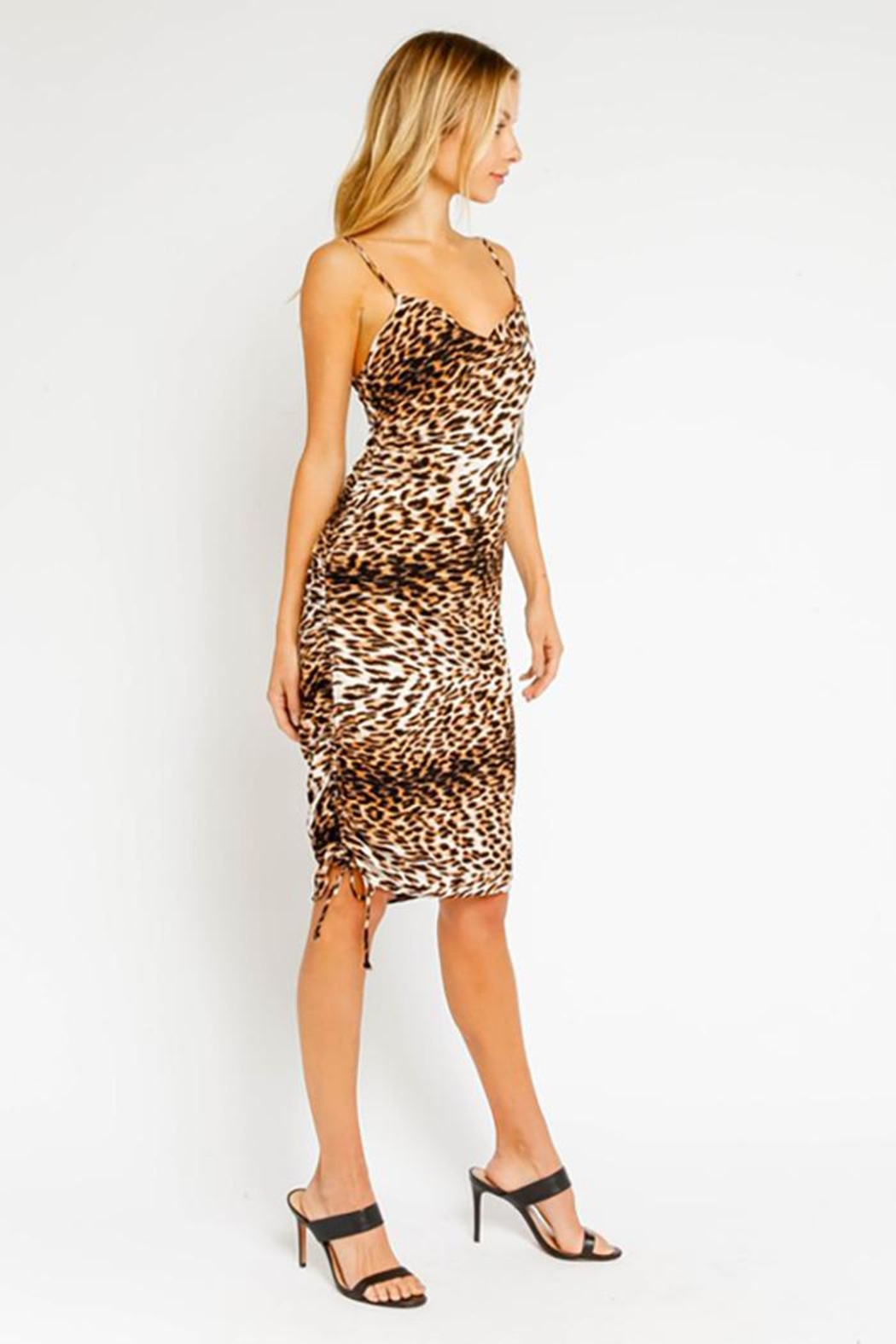 Olivaceous Wild Leopard Ruched Midi Dress - Side Cropped Image