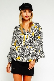 Olivaceous Zebra Button Down Blouse - Front cropped