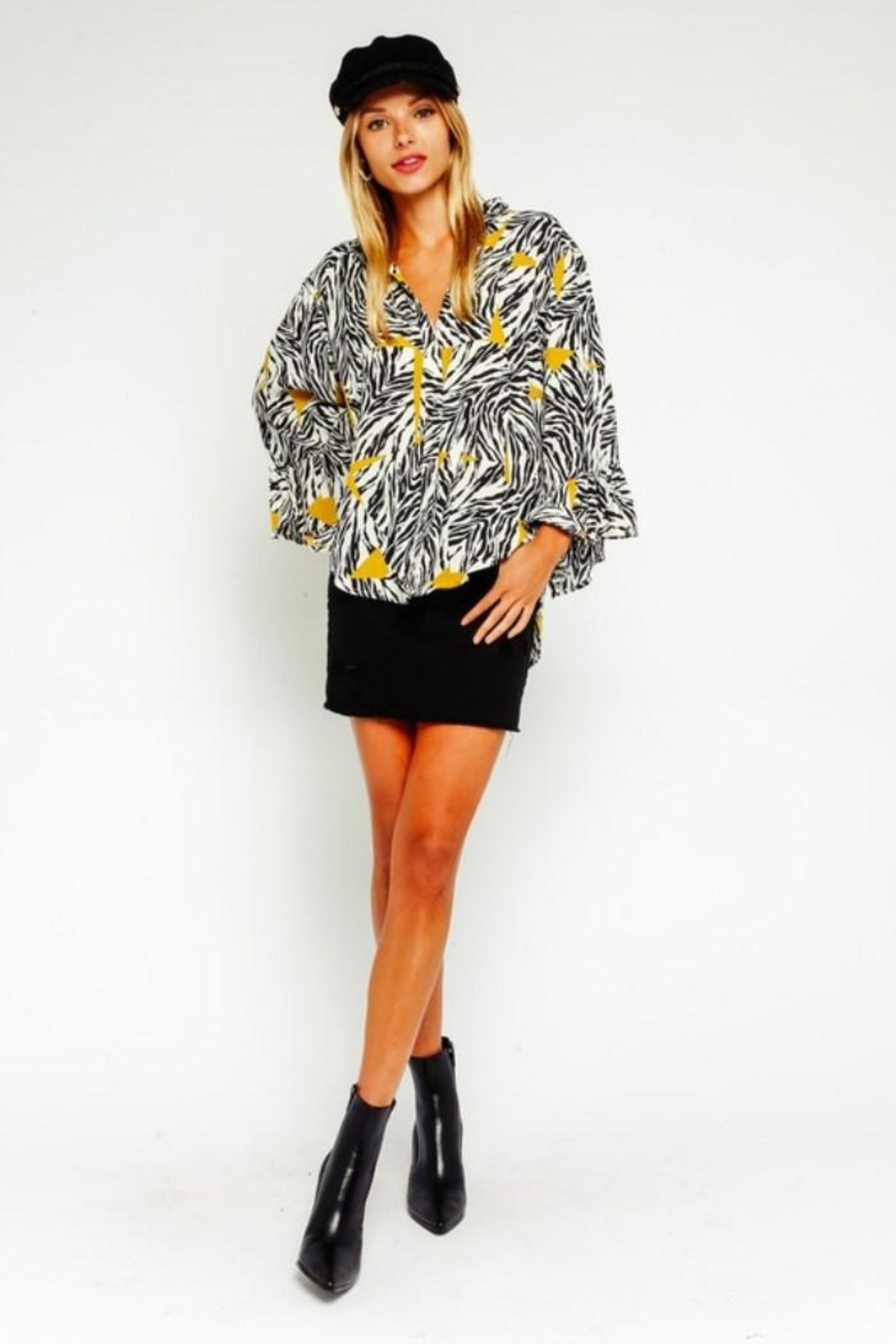 Olivaceous Zebra Button Down Blouse - Back Cropped Image