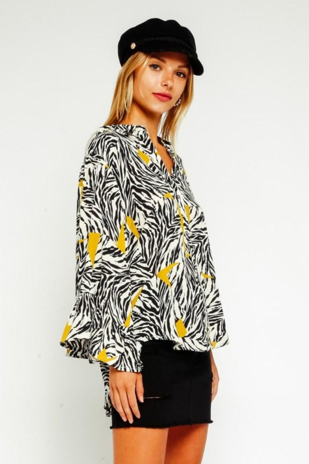 Olivaceous Zebra Button Down Blouse - Front Full Image