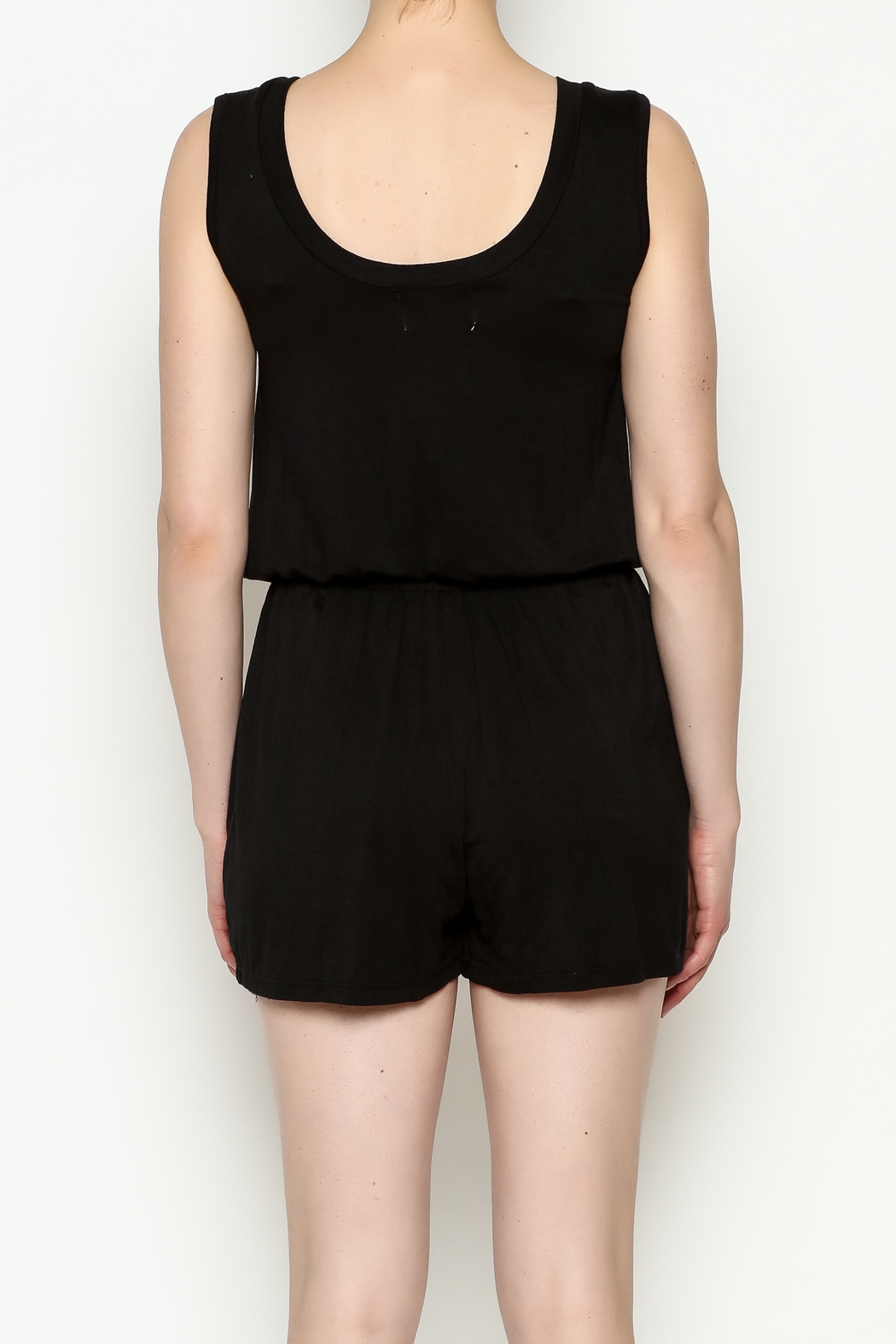 Olive & Oak Black Sleeveless Romper - Back Cropped Image