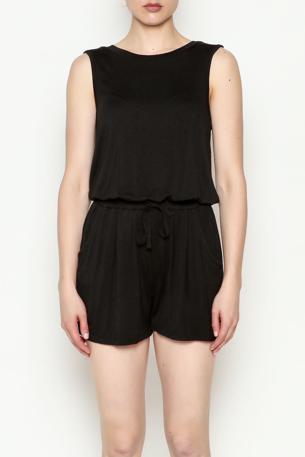 Olive & Oak Black Sleeveless Romper - Front Full Image