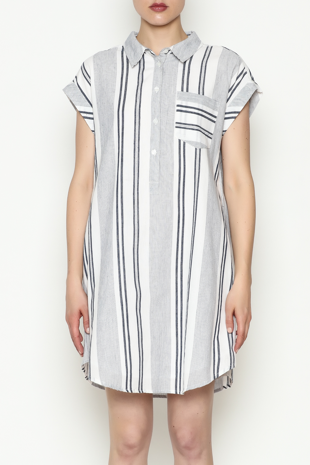 Olive & Oak Multicolored Stripe Dress - Front Full Image