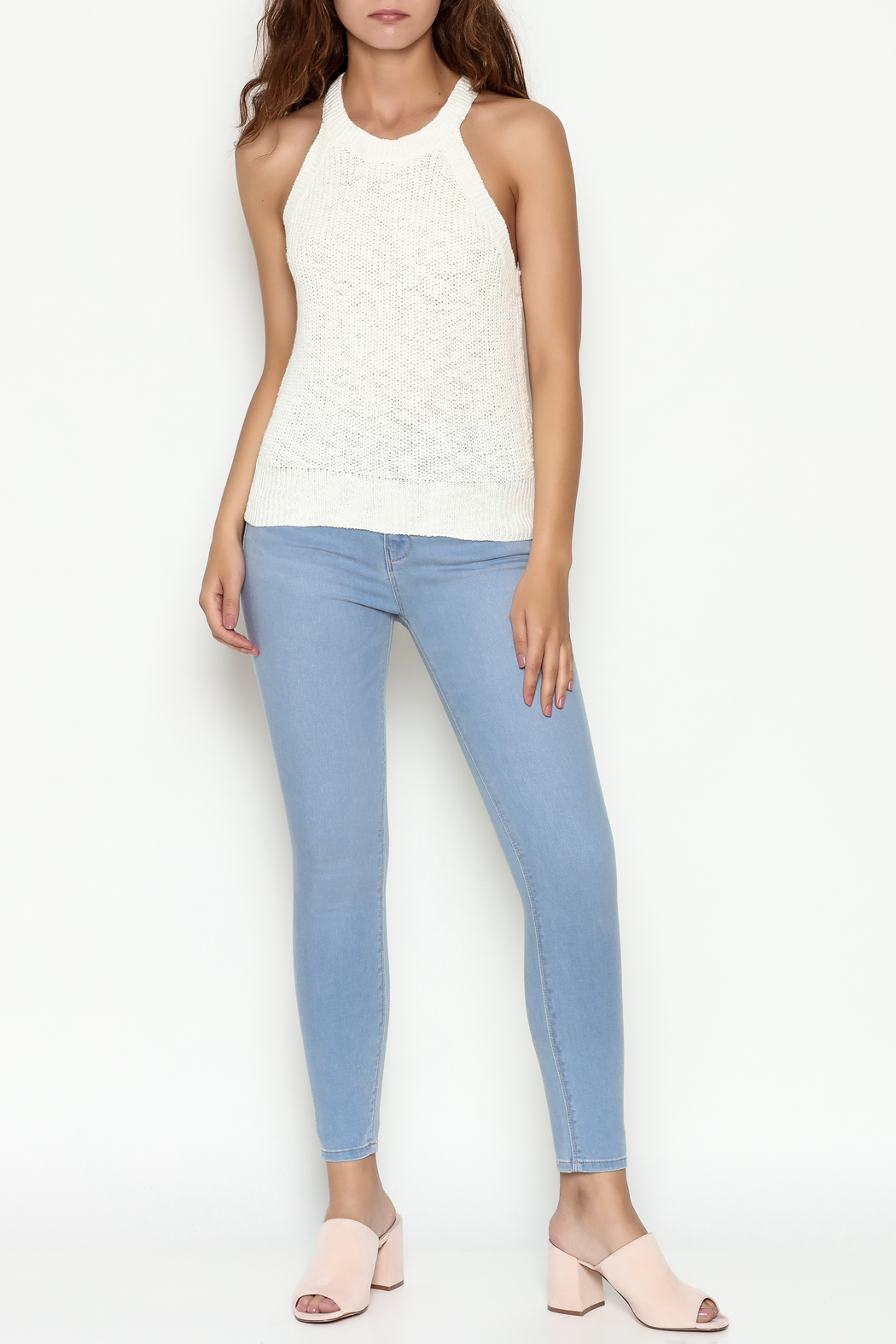 Olive & Oak Cropped White Sweater Tank - Side Cropped Image