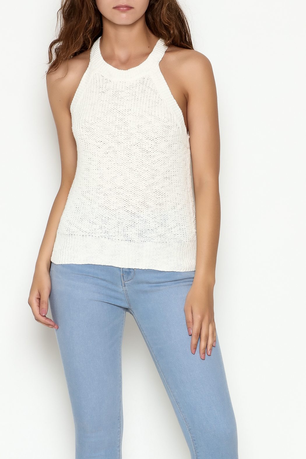 Olive & Oak Cropped White Sweater Tank - Main Image