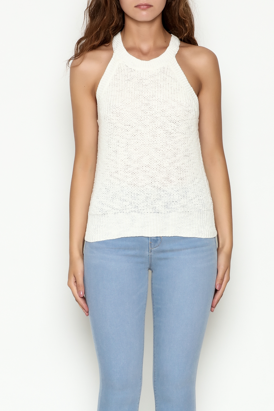 Olive & Oak Cropped White Sweater Tank - Front Full Image