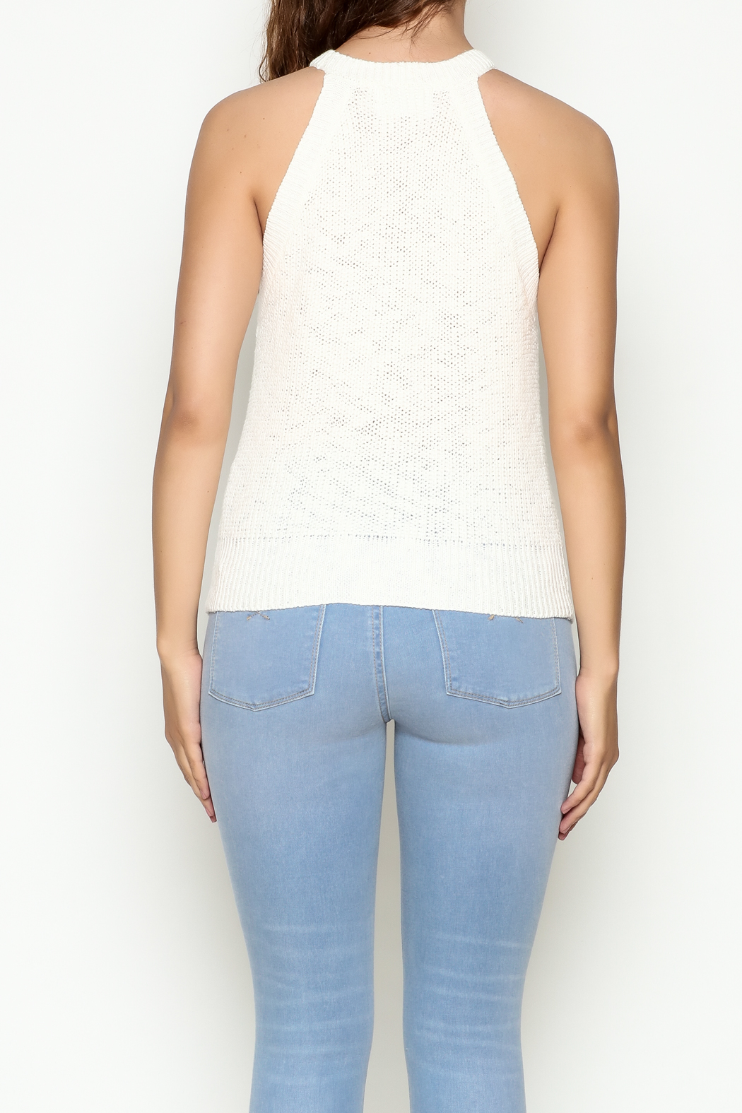 Olive & Oak Cropped White Sweater Tank - Back Cropped Image