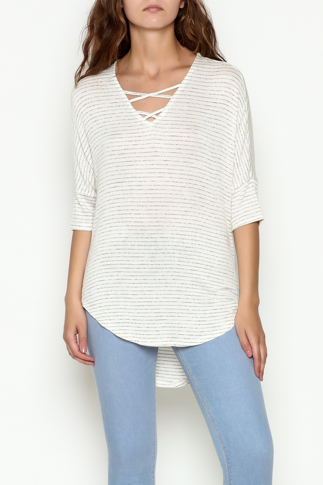 Olive & Oak Ivory Stripe Top - Main Image