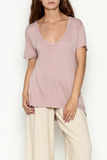 Olive & Oak Mauve V Neck Top - Main Image