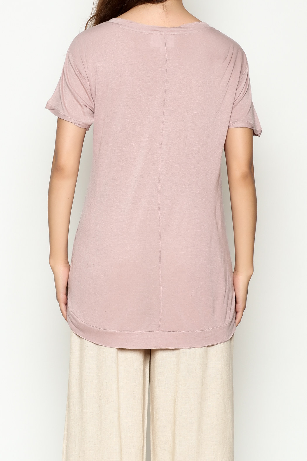 Olive & Oak Mauve V Neck Top - Back Cropped Image