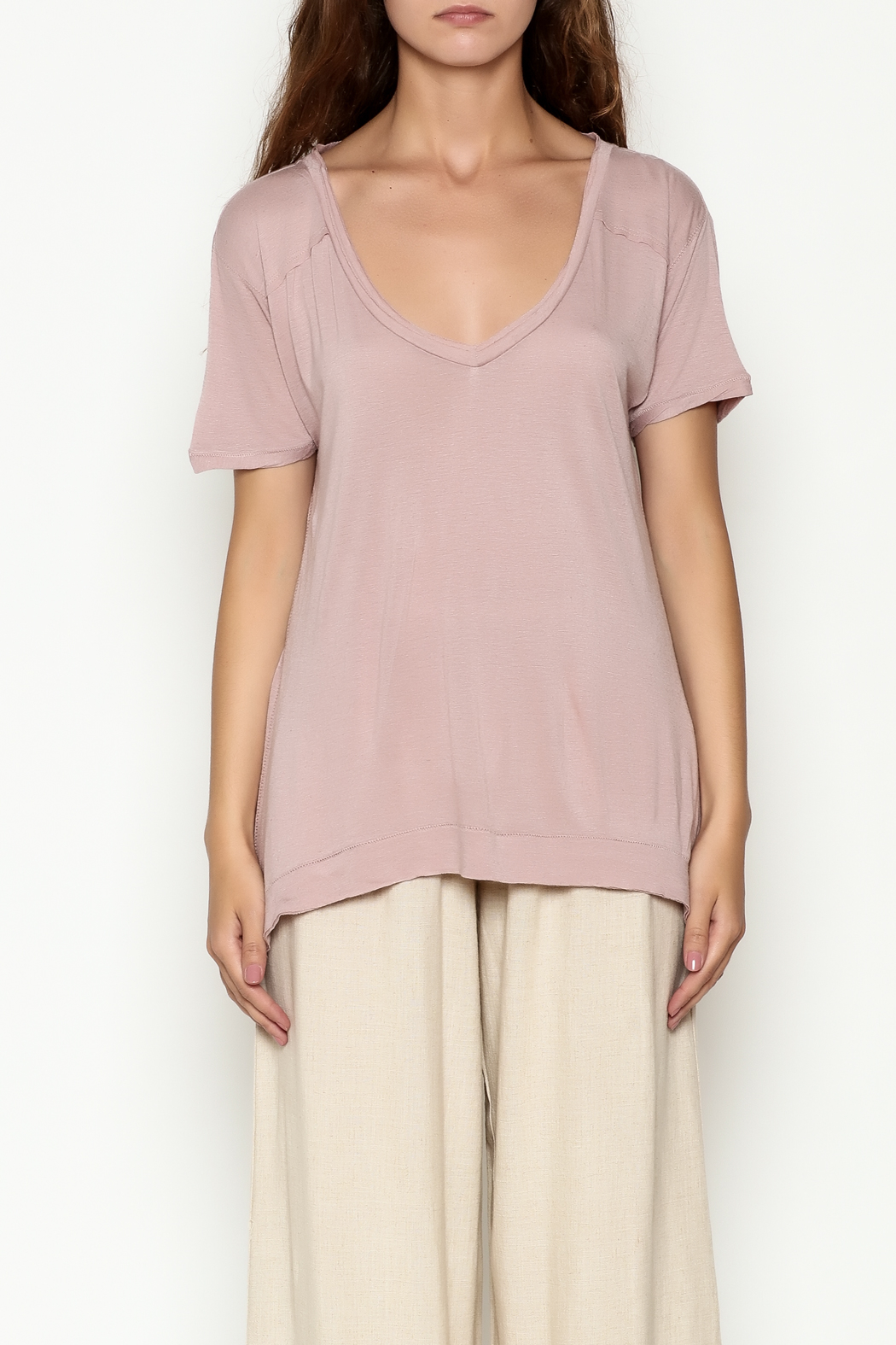 Olive & Oak Mauve V Neck Top - Front Full Image