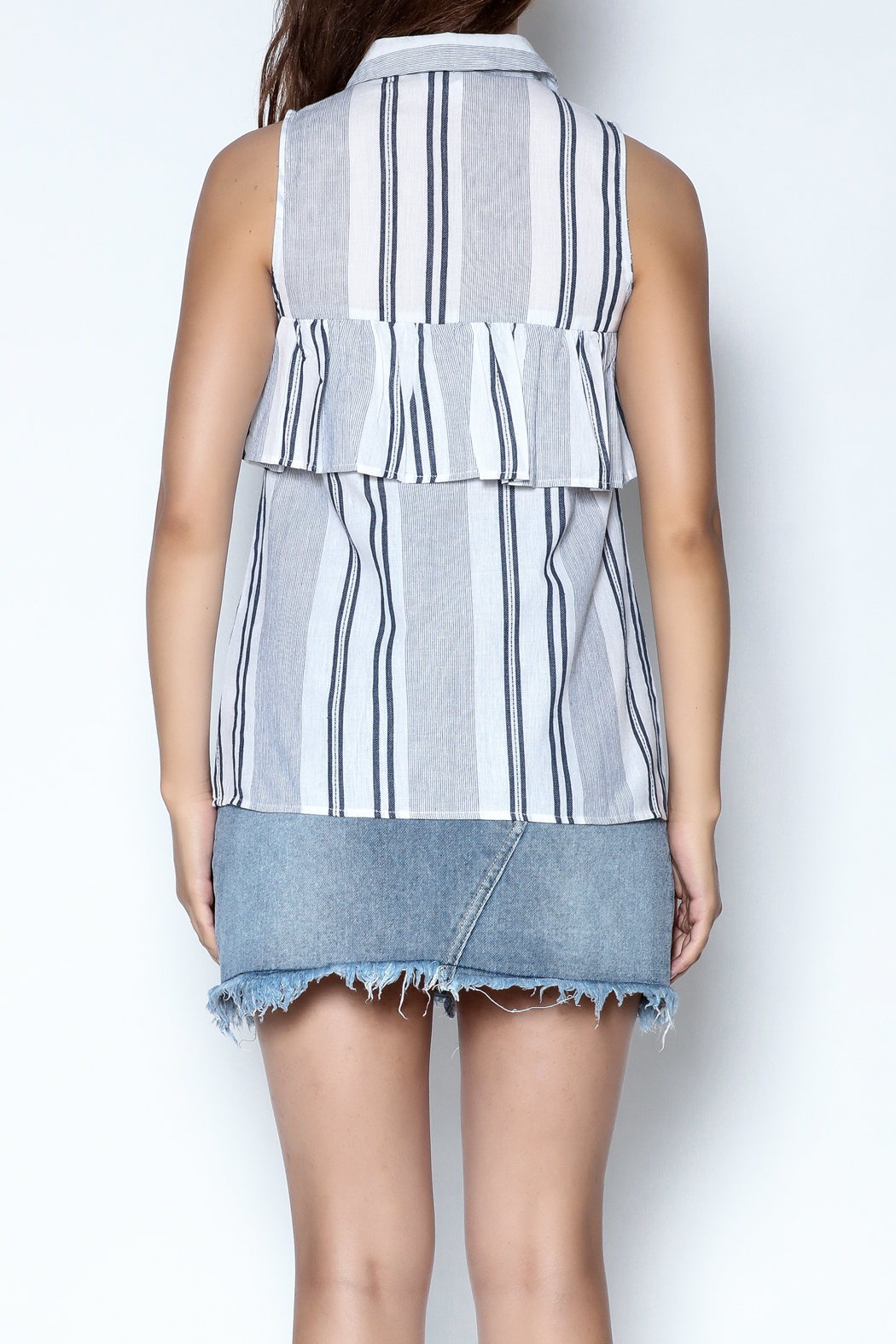 Olive + Oak Striped Max Top - Back Cropped Image