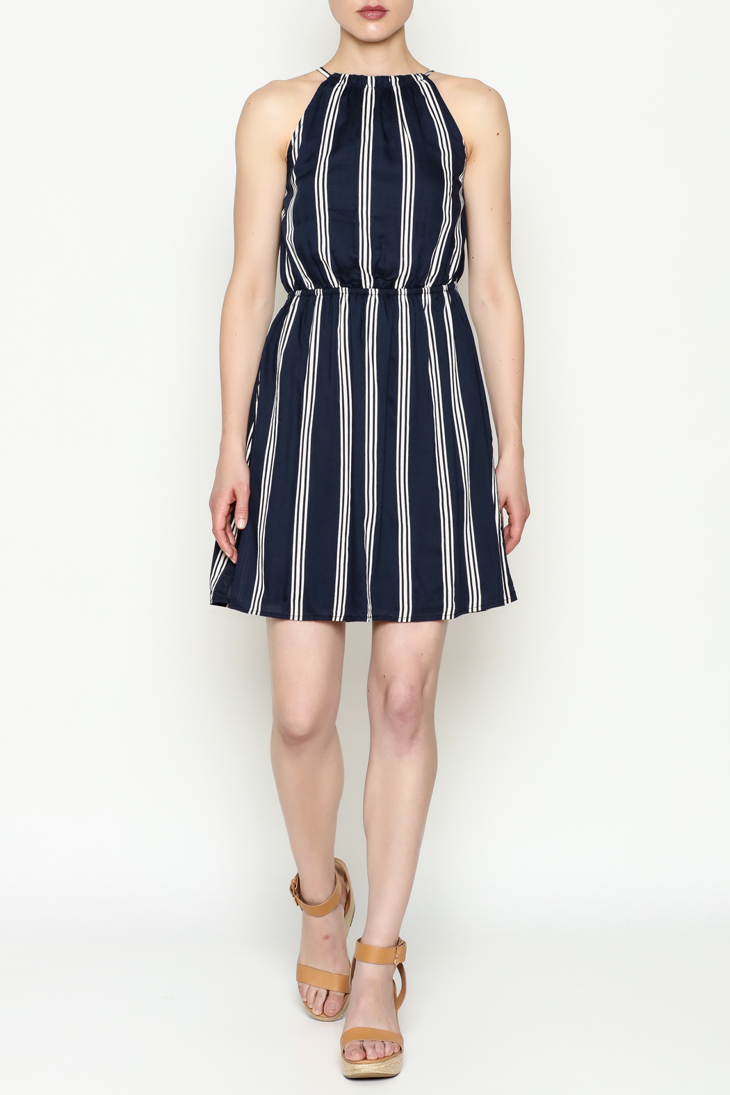Olive & Oak Navy Stripe Dress - Side Cropped Image