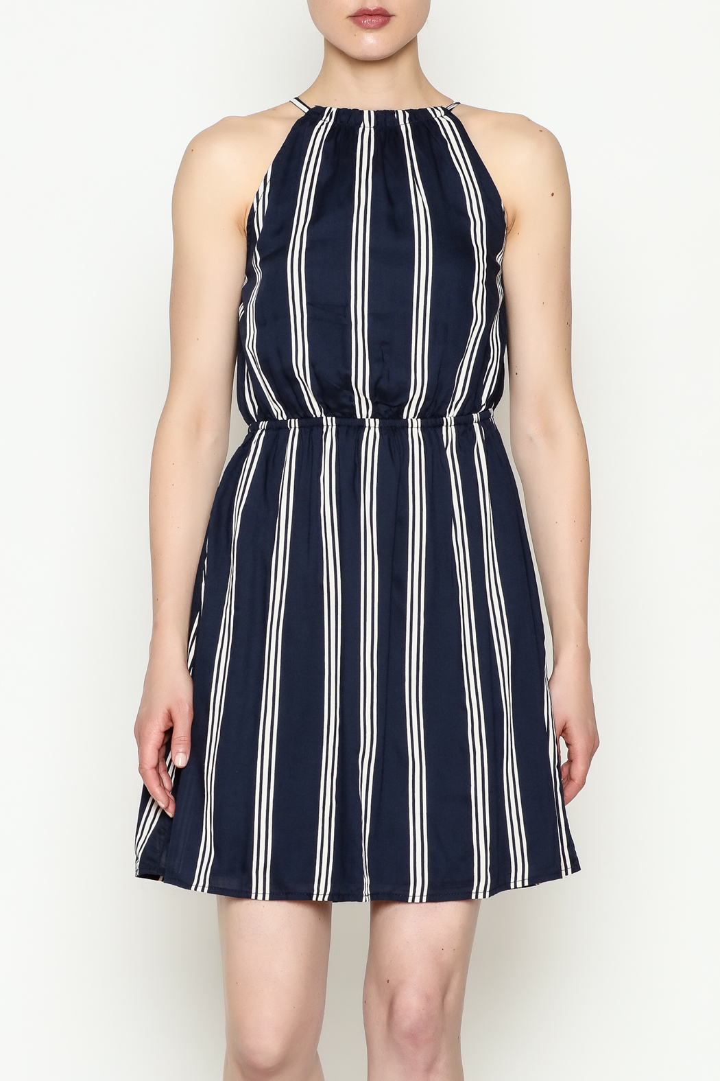Olive & Oak Navy Stripe Dress - Front Cropped Image