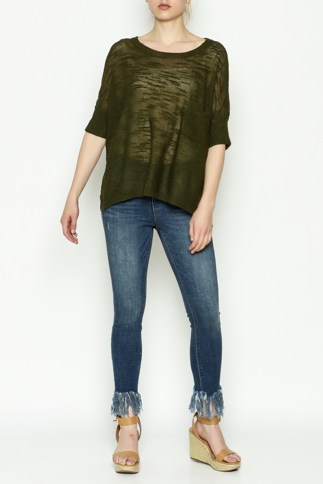 Olive & Oak Olive Lightweight Sweater - Side Cropped Image