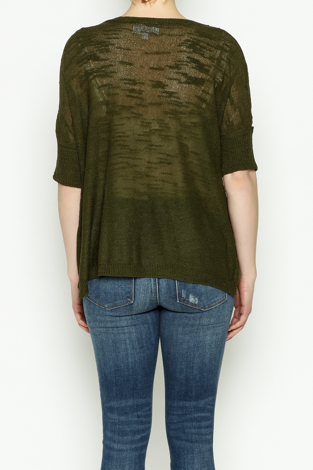 Olive & Oak Olive Lightweight Sweater - Back Cropped Image