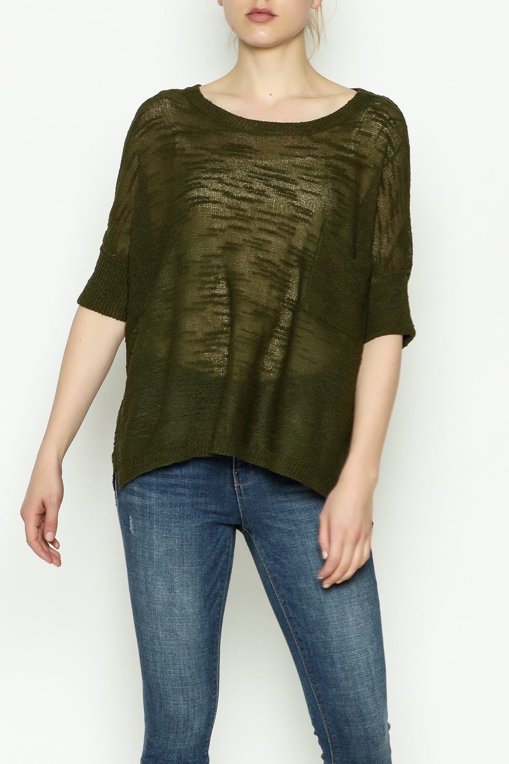 Olive & Oak Olive Lightweight Sweater - Front Cropped Image