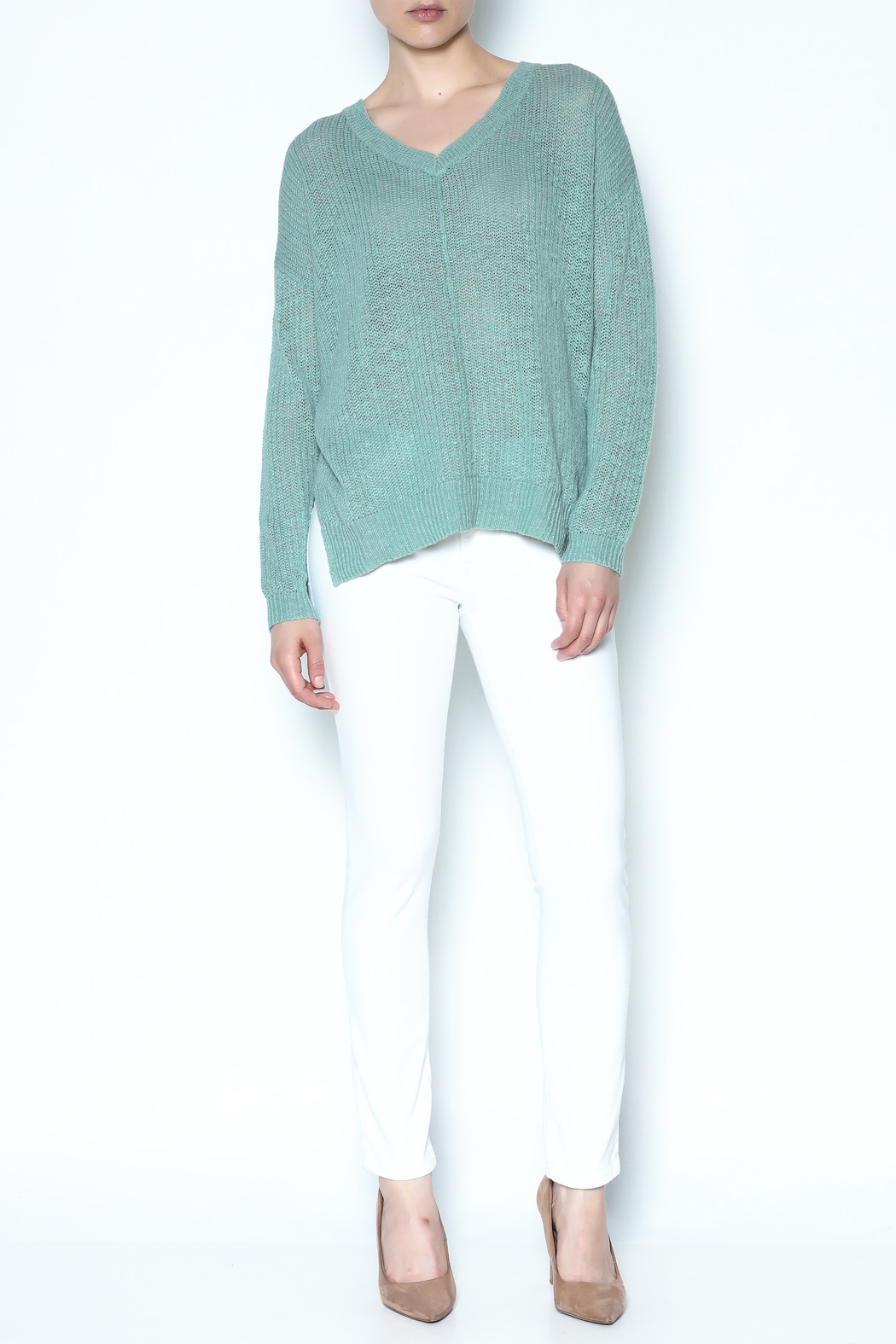 Olive & Oak Pale Cactus Sweater - Side Cropped Image