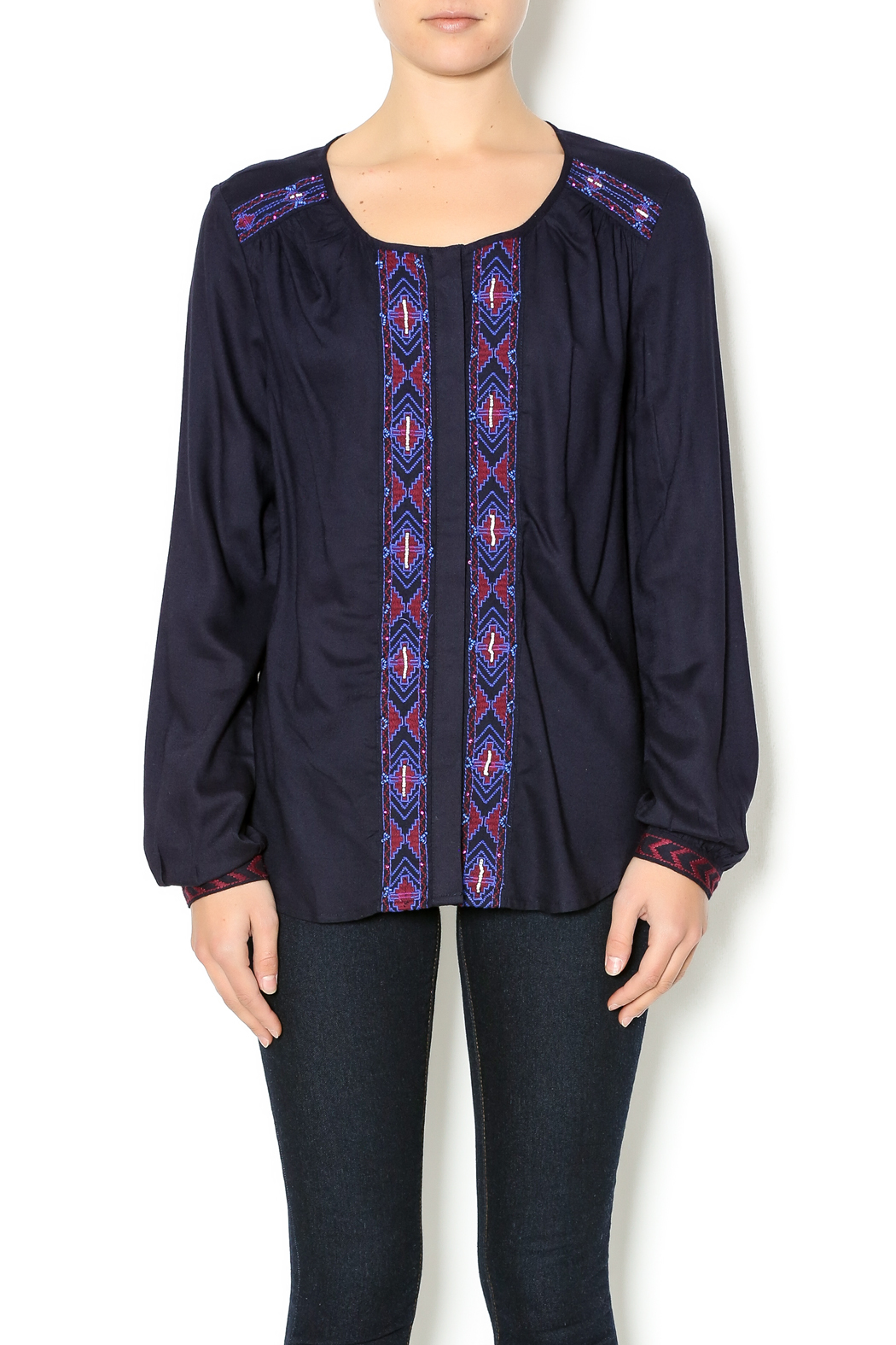 Olive & Oak Navy Embroidered Blouse - Main Image