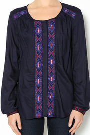 Olive & Oak Navy Embroidered Blouse - Other