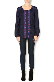 Olive & Oak Navy Embroidered Blouse - Front full body