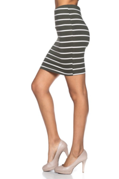 Capella Apparel Olive and White Striped Oencil Skirt - Product List Image