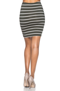 Capella Apparel Olive and White Striped Oencil Skirt - Alternate List Image