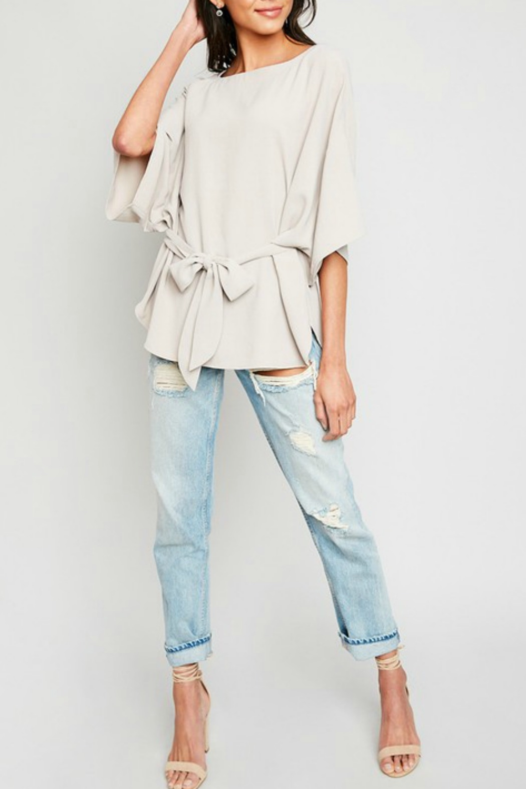 Hayden Los Angeles Olive Batwing Front-Tie-Blouse - Side Cropped Image