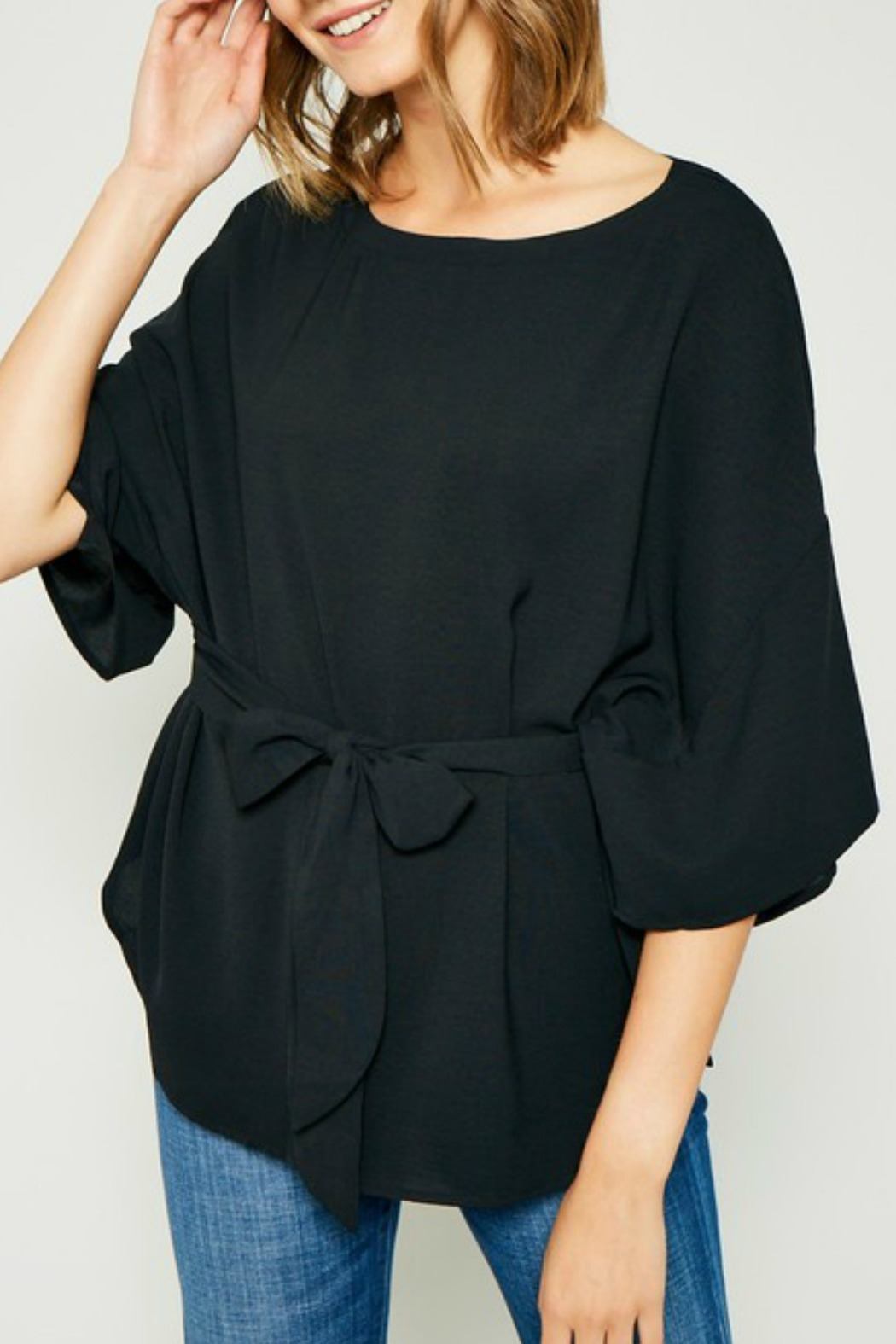 Hayden Los Angeles Olive Batwing Front-Tie-Blouse - Main Image