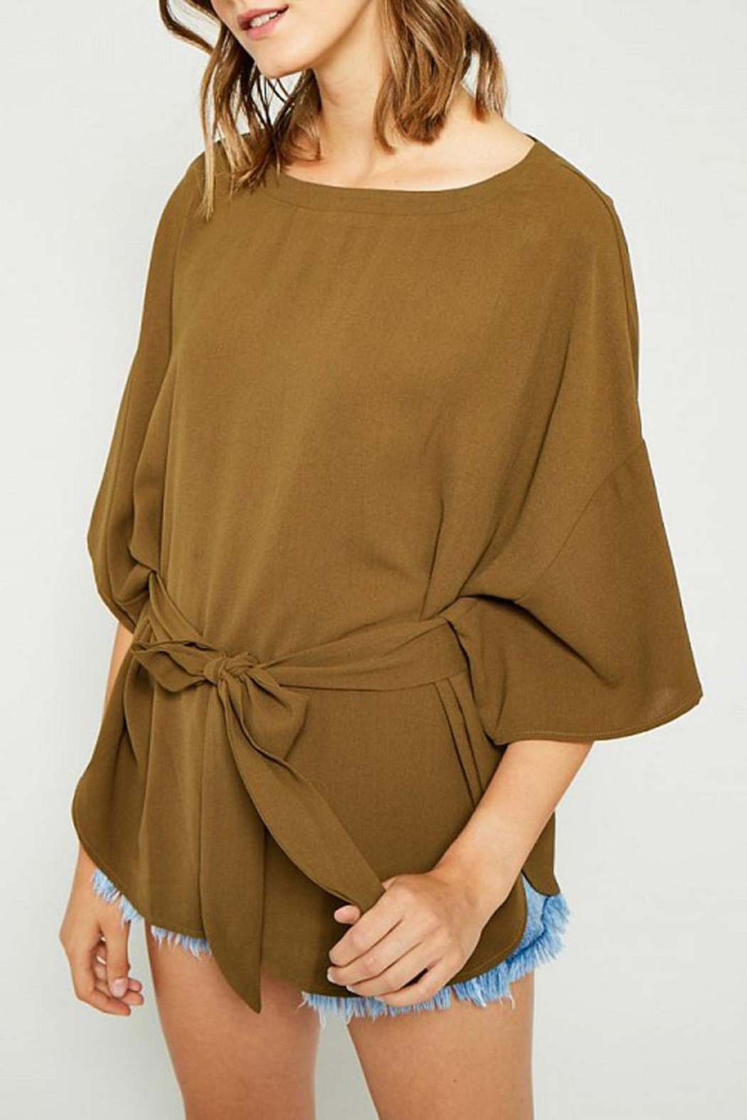 Hayden Los Angeles Olive Batwing Front-Tie-Blouse - Front Full Image