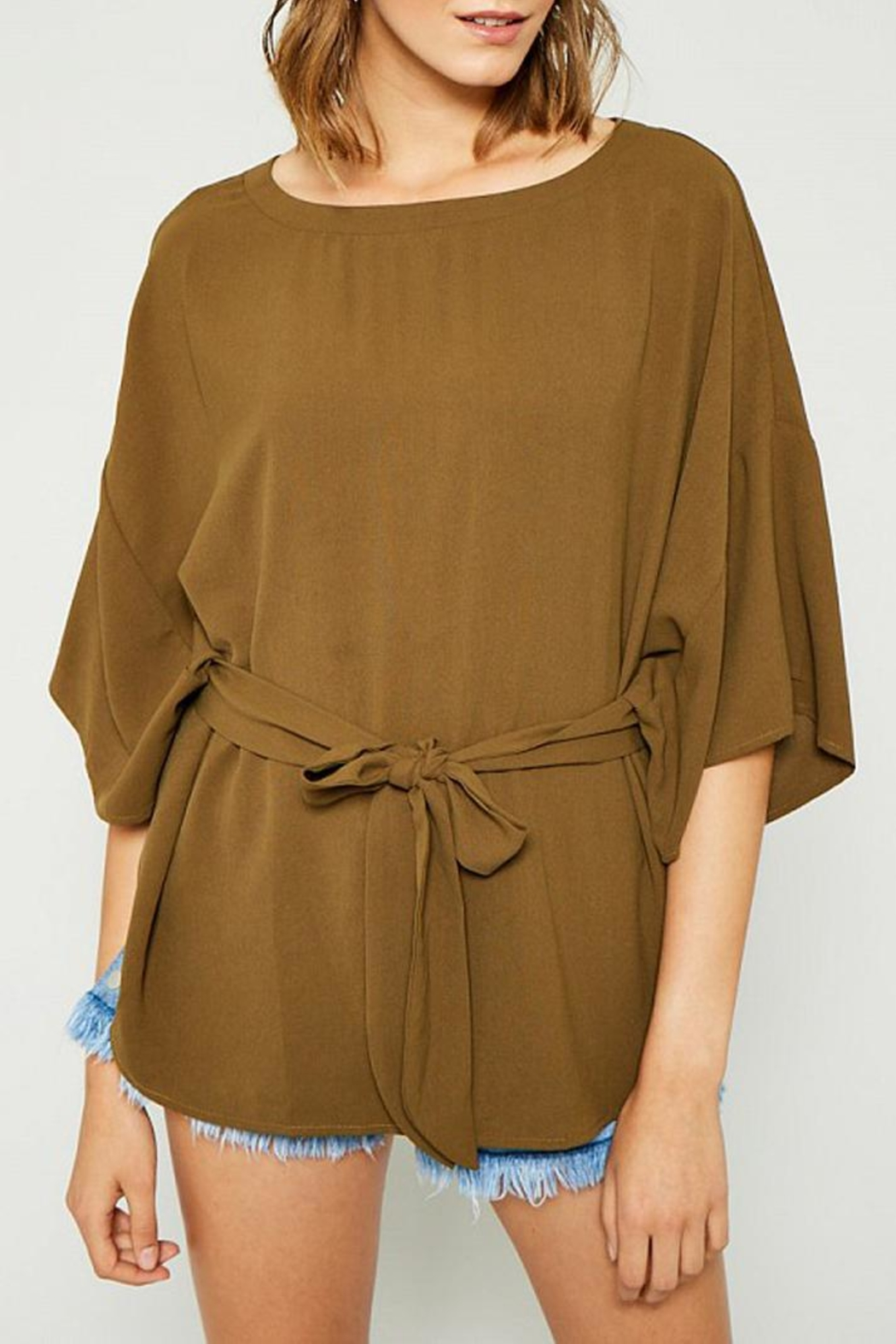 Hayden Los Angeles Olive Batwing Front-Tie-Blouse - Front Cropped Image