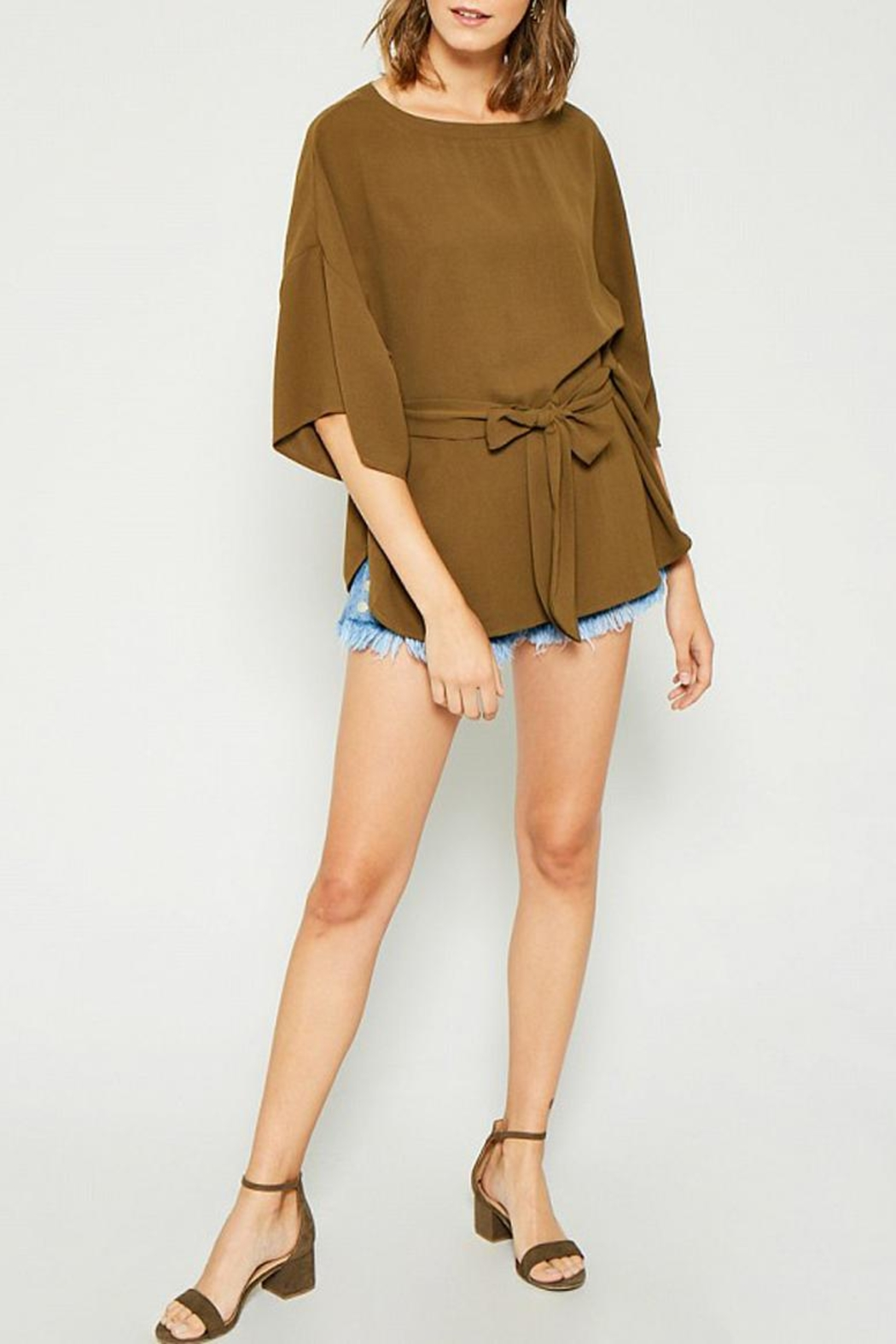 Hayden Los Angeles Olive Batwing Front-Tie-Blouse - Back Cropped Image