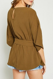 Hayden Los Angeles Olive Batwing Front-Tie-Blouse - Side cropped