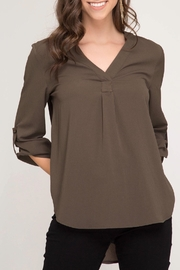 LuLu's Boutique Olive Blouse - Product Mini Image